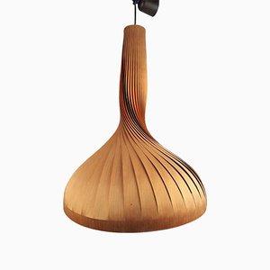 Lámpara colgante Mid-Century de pino