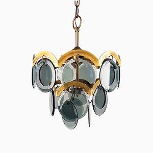 Lámpara colgante italiana Mid-Century de vidrio ahumado y azul de Gino Vistosi