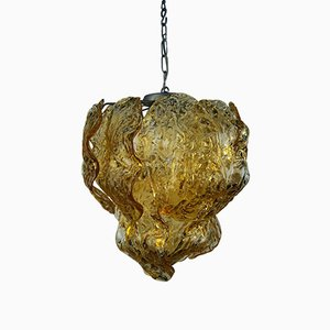 Clear Leaf Murano Pendant from Mazzega, 1960s