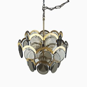 Mid-Century Italian Smoked Glass Pendant by Gino Vistosi