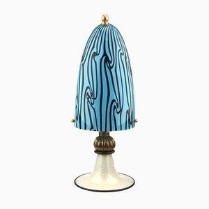 Lámpara de mesa de cristal de Murano con base de pan de oro