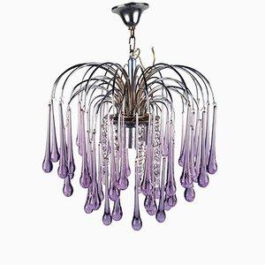 Lámpara de araña en cascada de cristales de Murano en forma de lágrima de Paolo Venini, años 60