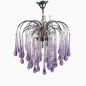 Murano Crystal Teardrop Waterfall Chandelier by Paolo Venini, 1960s