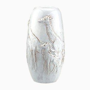 Graue Niederländische Vintage Vase mit Giraffen Motiv von Bouke Mobach, 1950er