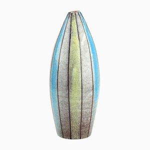 Vaso vintage in ceramica a righe di Bitossi