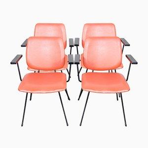 Hellrote Esszimmerstühle von W.H. Gispen für Kembo, 1950er, 4er Set