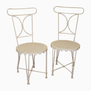 Patinierte Weiße Stühle aus Eisen von Gilbert Poillerat, 1950er, 2er Set