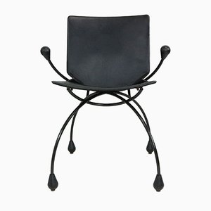 Black Leather Dining Chair, 1980s