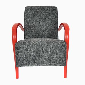 French Red & Gray Armchair, 1950s