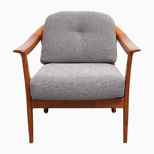 Cherry Armchair with Gray Upholstery from Wilhelm Knoll, 1960s