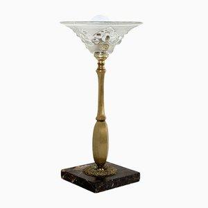Lámpara de mesa Art Déco de cobre y vidrio, años 20