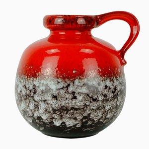 Jarrón Mid-Century en rojo y marrón con gotas de esmalte blanco de Scheurich