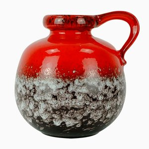 Mid-Century Red & Brown Vase with White Drip Glaze from Scheurich