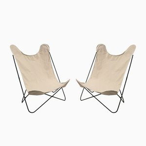 Butterfly Chairs with Canvas Seats by Jorge Ferrari Hardoy, 1960s, Set of 2