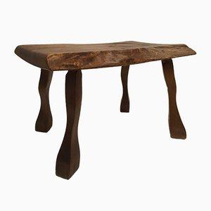 Tavolino vintage dal design organico in quercia massiccia