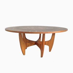 Mesa de centro redonda con tablero de cobre, años 60