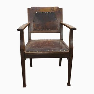 Antique Art Nouveau Wooden Armchair with Embellishments