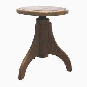 Antiker Jugendstil Klavierstuhl aus Holz & Leder