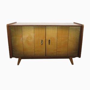 Aparador vintage de madera con compartimentos de almacenamiento, años 50