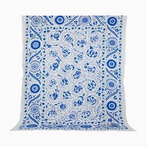 Großer Blauer Usbekischer Vintage Wandteppich