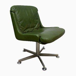 Silla de oficina vintage de cuero verde oliva