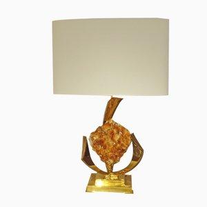 Lámpara de mesa de latón dorado y cristal de roca de Jacques Duval-Brasseur, años 70