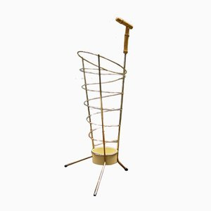 Austrian Mid-Century Bamboo and Brass Umbrella Stand