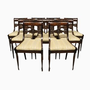 Antique Danish Chairs, 19th Century, Set of 9