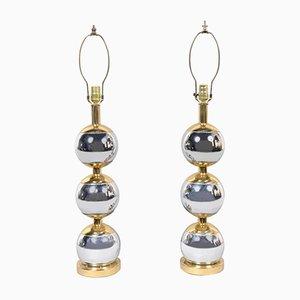 Lámparas de mesa vintage con bolas de acero inoxidable y cobre, años 70. Juego de 2