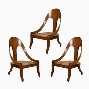American Mahogany Armchairs, 1940s, Set of 3