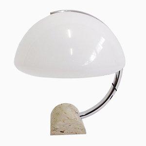 Lámpara de mesa Mid-Century de travertino de Elio Martinelli