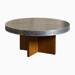 Table Basse Ronde avec Plateau Graphique Sculpté, Belgique, 1960s