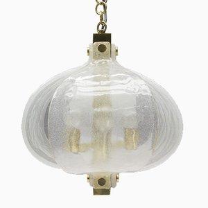 Lámpara colgante Mid-Century de cristal de Murano y latón de Kaiser Leuchten