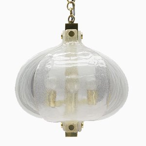 Mid-Century Murano Glass & Brass Pendant Light from Kaiser Leuchten