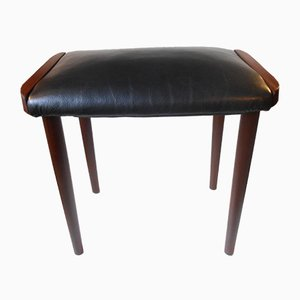 Danish Teak & Black Leather Ottoman, 1960s