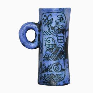 Jarro en azul de cerámica y grafito de Jacques Blin, años 50