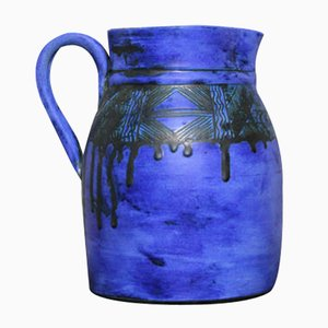 Royal Blue Ceramic Sgraffito Juice Pitcher by Jacques Blin, 1950s
