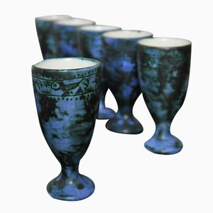 French Sgraffito Goblets in Blue Ceramic by Jacques Blin, 1950s, Set of 6