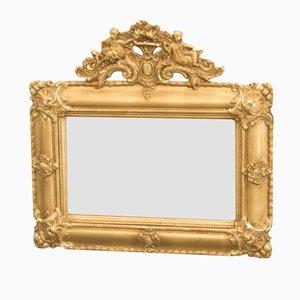 Miroir Gustavien avec Miroir Sculpté, 19ème Siècle