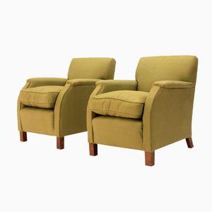 Italienische Grüne Sessel, 1930er, 2er Set