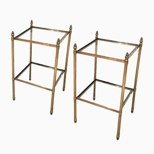 Bouts de Tables Vintage en Laiton, Set de 2
