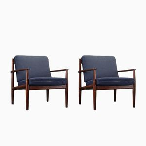 Mid-Century Danish Easy Lounge Chairs by Grete Jalk for France & Daverkosen, 1960s, Set of 2