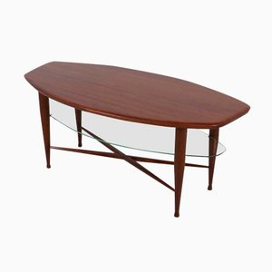 Vintage Teak Coffee Table with Glass Magazine Shelf