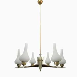 Brass, Wood, and Opaline Glass Chandelier, 1960s