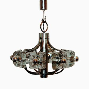 Mid-Century Glass Flower Chandlier from Mazzega