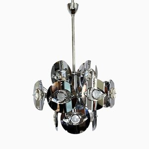 Chromed Brass Chandelier by Gaetano Sciolari, 1960