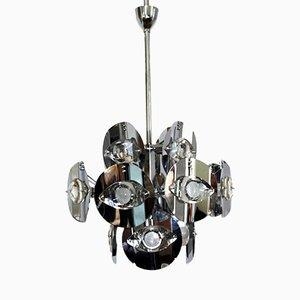 Lámpara colgante de latón cromado de Gaetano Sciolari, 1960