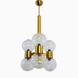 Lámpara de araña Regency italiana de latón y vidrio, años 60