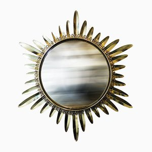 Espejo francés convexo con forma de sol, años 50