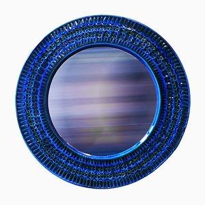 Espejo italiano con marco de cerámica de Aldo Londi para Bitossi, años 60